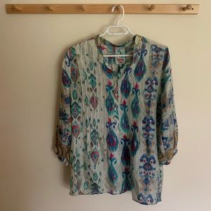 Johnny Was 100% Silk Blue Blouse Top Long Sleeve M